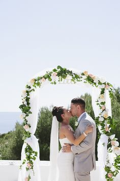 Dancing the Night Away in Ibiza. Cute wedding arch!