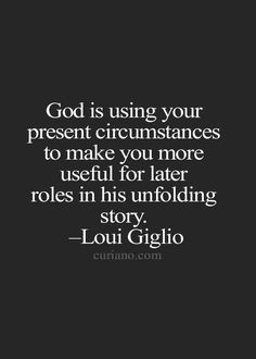 God is using our present...