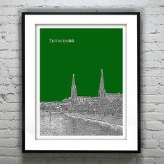 Inverness Scotland Skyline Poster Art Print Version 1