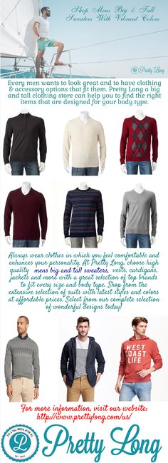 Shop mens big and tall sweaters in longer length for a stylish day at Pretty Long. All items are available in many colors and patterns. Stay comfortable for our big and tall blazers, jackets & coats at reasonable prices.