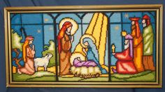 Check out Stained Glass Nativity Finished Needlepoint, wool yarn, framed, beautiful on luvredford Cross Stitch Christmas Cards, Xmas Cross Stitch, Christmas Cross, Cross Stitching, Cross Stitch Embroidery, Embroidery Patterns, Cross Stitch Designs, Cross Stitch Patterns, Crochet Cross