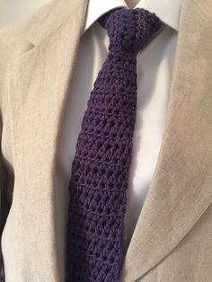 Crochet neck tie made for my Brothers birthday - purple is his favourite colour!
