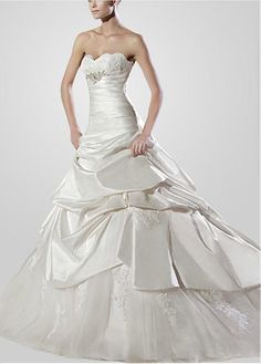 EXQUISITE TAFFETA NET A-LINE STRAPLESS NECKLINE WEDDING DRESS WITH LACE APPLIQUES BEADINGS LACE BRIDESMAID PARTY COCKTAIL
