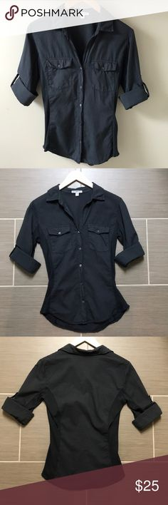 34c68879 James Perse 3/4 Sleeve Button Down Charcoal Sz 2 James Perse Charcoal Button -