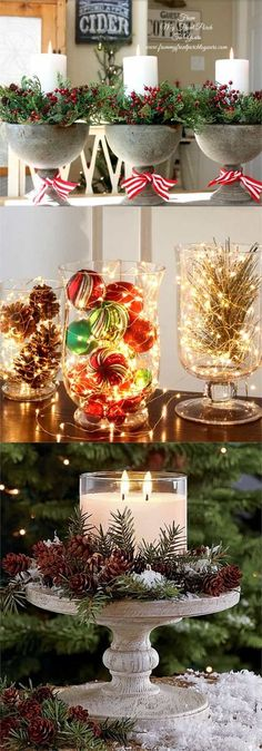 27 Gorgeous DIY Thanksgiving & Christmas Table Decorations & Centerpieces 27 gorgeous & easy DIY Thanksgiving and Christmas table decorations & centerpieces! Most can be made in less than 20 minutes, from things you already have! - A Piece of Rainbow Noel Christmas, Rustic Christmas, Simple Christmas, Christmas Projects, Handmade Christmas, Beautiful Christmas, Christmas 2019, Christmas Island, Christmas Vacation