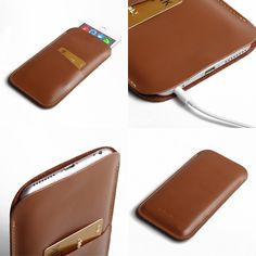 "PDair Simple Leather Pouch Case for Apple iPhone 6 Plus (5.5"") with Card Holder (Brown)"