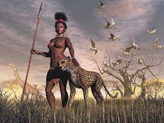 z- by Simone D - Huntress w Cheetah (xmas-kitty- DeviantArt)
