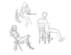 Very loose gesture drawings of people sitting out & about, by my officemate Justin Hunt. Look how much is captured with such minimal lines.