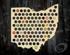 Ohio Beer Cap Map Made of Birch Plywood  Bottle Cap by Oksis
