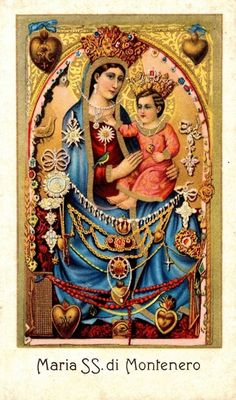Maria SS. di Montenero    A devotional image from the shrine of the Madonna of Montenero, the patron of Tuscany. The miraculous image is covered in ex votos.
