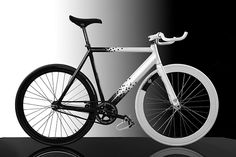 Custom black and white painted fixie