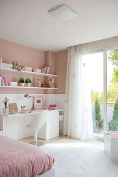 Quaint, Classic Bedroom Decor with Desk Space and Balcony View