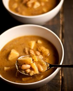 Potato Bean Soup - Cold winter nights demand comfort food, and this hearty potato bean soup delivers. || The Vegan Road