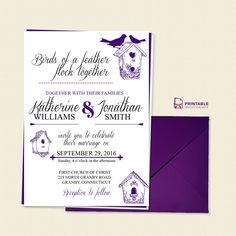 Birds of a Feather Wedding Invitation Template - free to download, easy to edit and print at home.