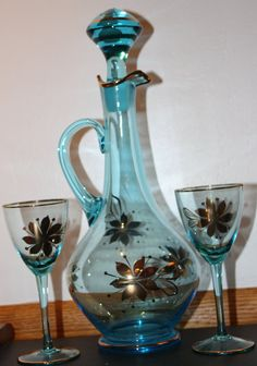 Items similar to Fabulous vintage decanter & 6 stemmed glasses with gold trim. 15 inch tall decanter with stopper will dress up any decor. on Etsy Vintage Dishes, Vintage Glassware, Wine Decanter Set, Old Bottles, Barware, Plates, Crystals, Unique Jewelry, Handmade Gifts