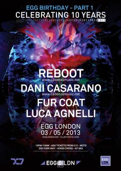 Tomorrow Egg Nightclub in London is celebrating 10 years! I will be playing in the garden 1-3AM with Reboot Dani Casarano Fur Coat Luca Agnelli in the main room.
