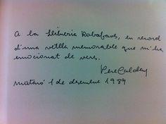 Dedicatòria de Pere Calders a Robafaves, 1989