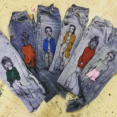 Denim Mafia Collection Vintage Denim Hand Painted www.rialtojeanproject.com Order email sales@rialtojeanproject.com