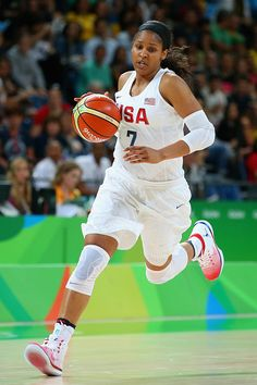 Maya Moore of United States controls the ball during the Women's Quarterfinal…