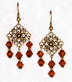 Brown Crystal Chandelier Dangle Earrings by NevadaLadyJ on Etsy