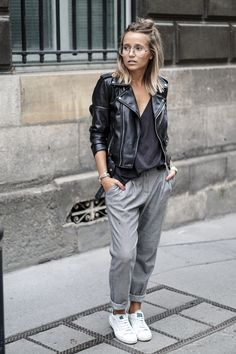 grey pants, black leather jacket, top