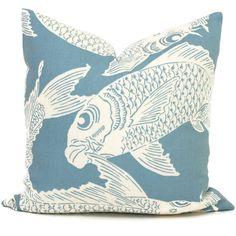 Manuel Canovas Aqua Calypso Decorative Pillow Cover Square or Lumbar Pillow, Koi Fish Pillow, Toss Pillow, Throw, Indoor Outdoor Pillow