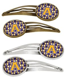 Letter A Football Purple and Gold Set of 4 Barrettes Hair Clips CJ1064-AHCS4