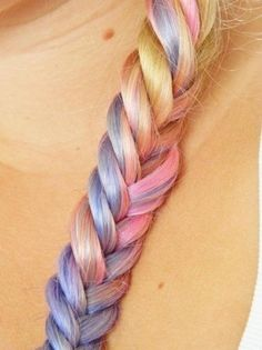 ♛ We Heart Hair, rainbow pastel braid