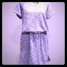 Max Studio Drawstring Dress Blue & White Max Studio Dress.  Drawstring waist.  Side pockets.  Rounded side seams. Roll short sleeves. 60% Cotton, 40% Polyester.  Size L.  Washed, worn once, Summer '15 collection. Fabulous condition. Max Studio Dresses Mini
