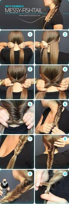 Messy Fishtail Braid Tutorial: Side Loose Braided Hairstyles - Great step by step instructions with photos!: Messy Fishtail Braid Tutorial: Side Loose Braided Hairstyles - Great step by step instructions with photos! Messy Fishtail Braids, Quick Braids, Prom Braid, How To Braid Hair, How To Make Braids, Waterfall Braid Tutorial, Diy Braids, Fishtale Braid How To, Hairstyle Tutorials