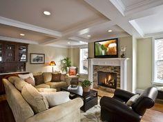 living room, big screen tv, gas fireplace