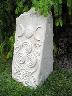 Witch Garden:  #Witch #Garden ~ Triple Spiral Moon Goddess carved in Hopton Wood Limestone, for the garden.