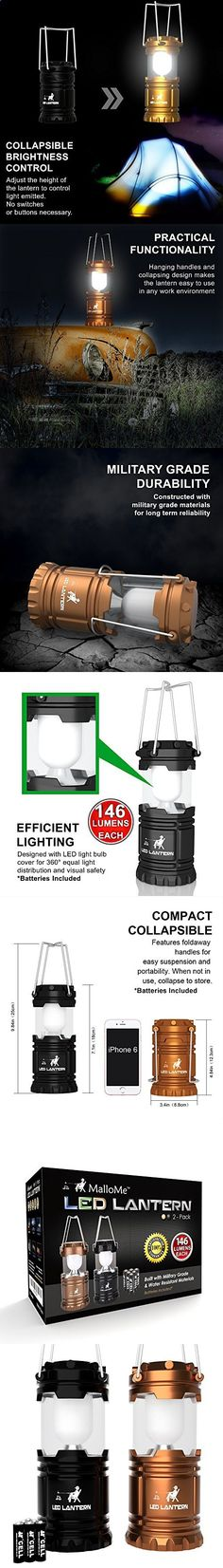 MalloMe LED Camping Lantern Flashlights - Backpacking  Camping Equipment Lights - Best Gift Ideas (6 AA Batteries Included), Black and Gold