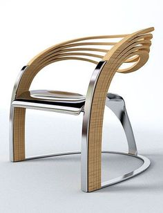 Chair Unique Design made from wood and metal, a stylish but pratical dining/armchair.
