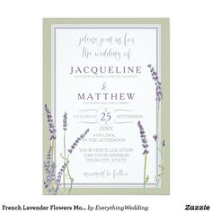 French Lavender Flowers Modern Typography Script Card This invitation set begins with hand painted watercolor images by Audrey Jeanne Roberts. They are individual sprigs of French lavender flower blossoms in shades of lavender and purple with soft mint and sage green. They were painted from life in the herb garden flower fields near her home in Southern California. A double thin white border mixing grey and white stripes sets off the simple and modern style of the typography text layout…