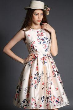 LUCLUC Beige Floral Printed Skater Dress