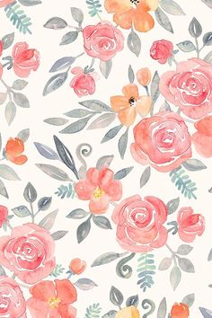 Amelia Floral in Pink and Peach Watercolor by micklyn - Hand painted watercolor roses in pink, peach, and jade on fabric, wallpaper, and gift wrap.  Beautiful hand painted floral design by indie designer micklyn.