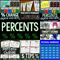 Included in this bundle of percent activities are two digital math escape rooms for finding percent increase and decrease and for reviewing percents, two digital Google Forms activities for finding percent markup/profit and discounts, a percent discounts math pennant, print and digital task cards fo... Percents, Task Cards, Rooms, Teaching, Activities, Math, Digital, Google, Bedrooms