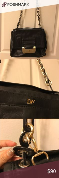 Dianne Von Furstenberg Harper Connect purse Gorgeous black leather satchel with turn key lock detail that doubles as an iPad holder with its built in compartment for easy access of the IPad.  This is gently used so the side handle does show a little wear that can use some love at the leather shop.  A perfect work bag that converts for a night out! Diane von Furstenberg Bags Crossbody Bags