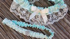 Ivory wedding garter/ Tiffany blue garter belt set by JessWeddings