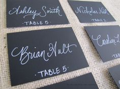 Wedding Black Name Place Cards Escort Cards Table by RachelCarl, $1.00