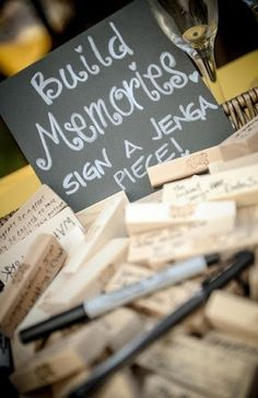 Adoption Party Idea...Have guests sign a Jenga piece to help our new kiddos build memories