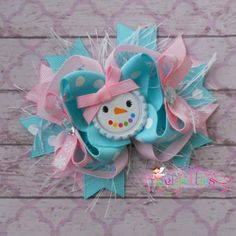 Glam Pastel Girly Snowman Stacked Boutique Hair Bow