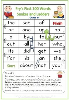 FREE Fry's First 100 Words Snakes and Ladders Games x 6 - 6 pages - Clever Classroom - TeachersPayTeachers.com