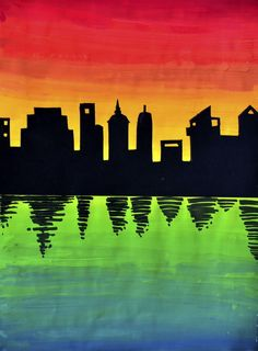 skyline on color gradation-- this one uses acrylic, but could use tempera or watercolor