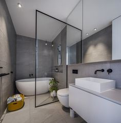 Modern minimal bathroom in white and gray Minimal Bathroom, Modern Bathroom, Small Bathroom, Bathroom Gray, Bad Inspiration, Bathroom Inspiration, Bathroom Interior Design, Modern Interior Design, Contemporary Living Room Furniture