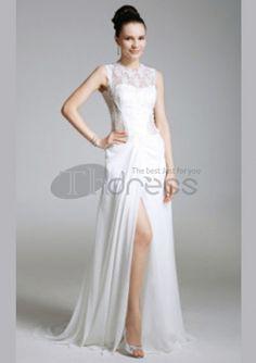 blonder chiffon skjede / kolonne juvel feie / børste kjoler til ball Prom Dress 2014, Prom Dresses, Formal Dresses, Wedding Dresses, Dresses 2014, Evening Dresses For Weddings, Gaines, Lace Chiffon, Dress To Impress