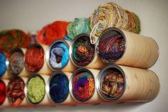 Use coffee cans to organize your yarn!