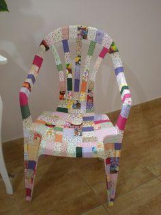 como decorar cadeiras de plástico com tecido | coisaseideias