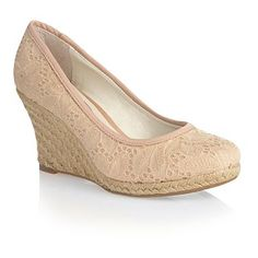 Beige broderie lace covered wedge shoes - Mid heel shoes - Shoes & boots - Women -